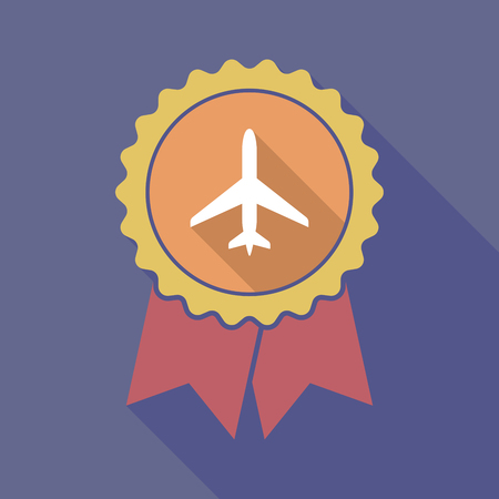 Illustration of a long shadow flat color badge with a plane