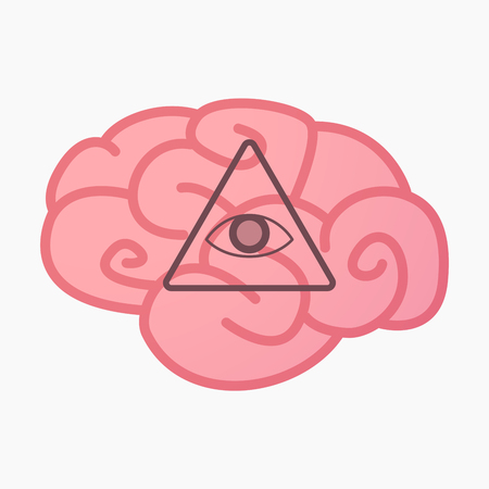 Illustration of an isolated brain with an all seeing eye Illustration