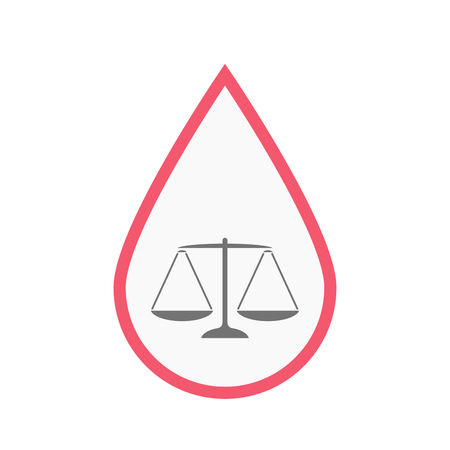 Illustration of an isolated line art blood drop with a justice weight scale sign