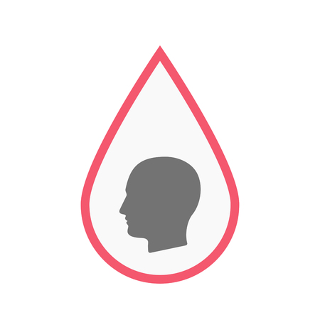 Illustration of an isolated line art blood drop with a male head