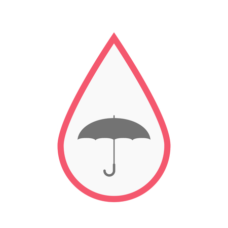 Illustration of an isolated line art blood drop with an umbrella