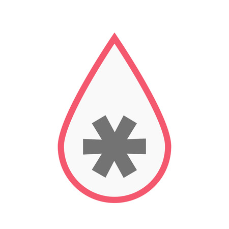 Illustration of an isolated line art blood drop with an asterisk