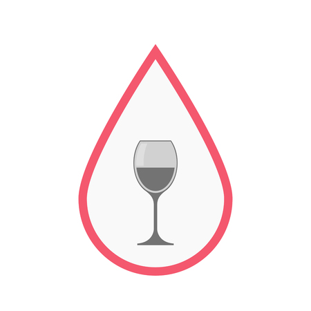 Illustration of an isolated line art blood drop with a cup of wine