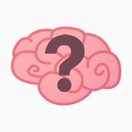 Illustration of an isolated brain with a question sign