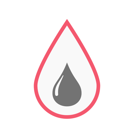 blood line: Illustration of an isolated line art blood drop with a fuel drop