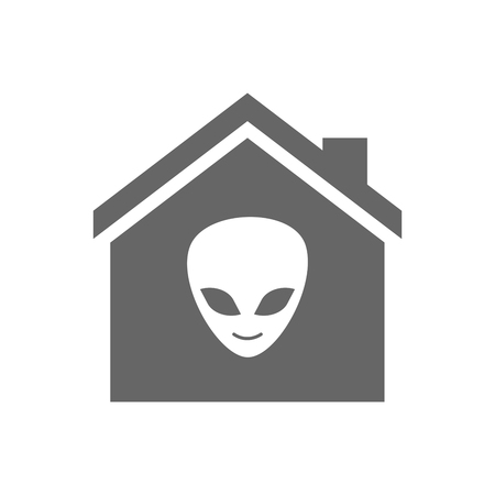 alien face: Illustration of an isolated house with an alien face