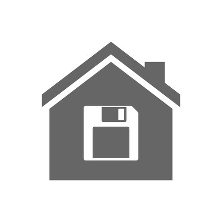 illustration: Illustration of an isolated house with a floppy disk