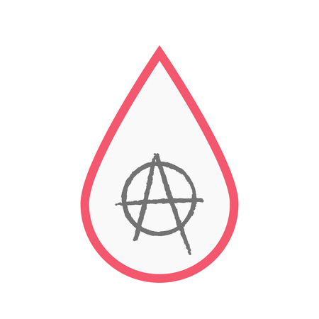 Illustration of an isolated line art blood drop with an anarchy sign