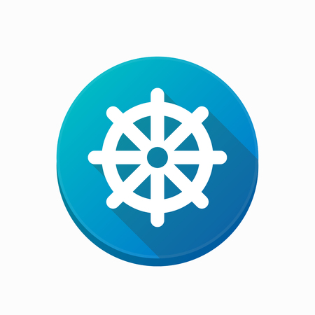 dharma: Illustration of an isolated rounded button with a dharma chakra sign Illustration