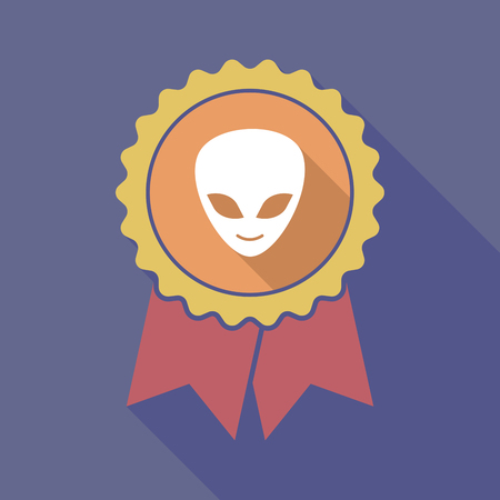 alien face: Illustration of a long shadow flat color badge with an alien face