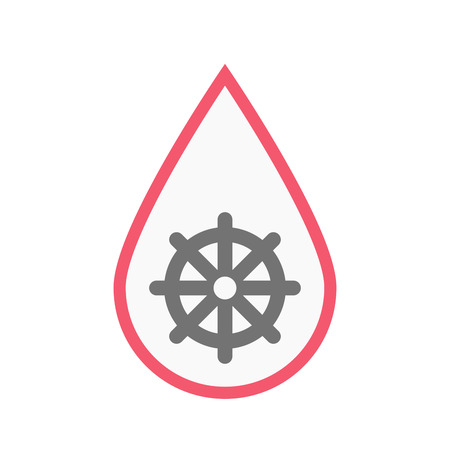 Illustration of an isolated line art blood drop with a dharma chakra sign Illustration