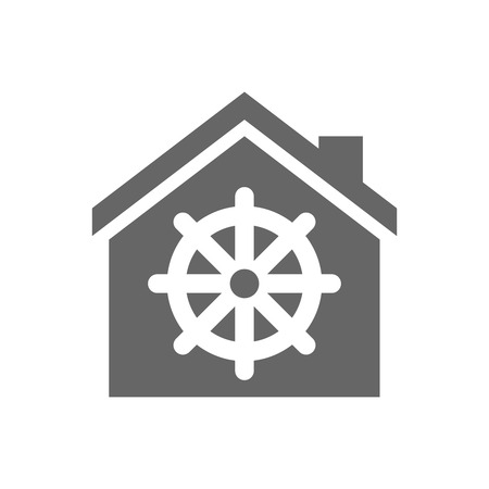 dharma: Illustration of an isolated house with a dharma chakra sign