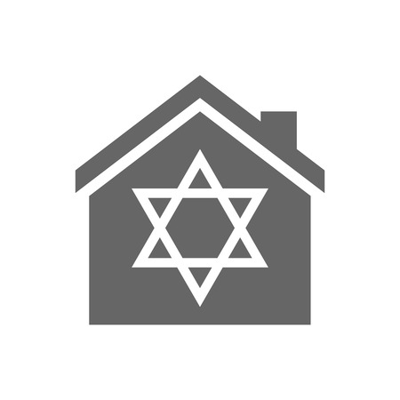 jewish houses: Illustration of an isolated house with a David star