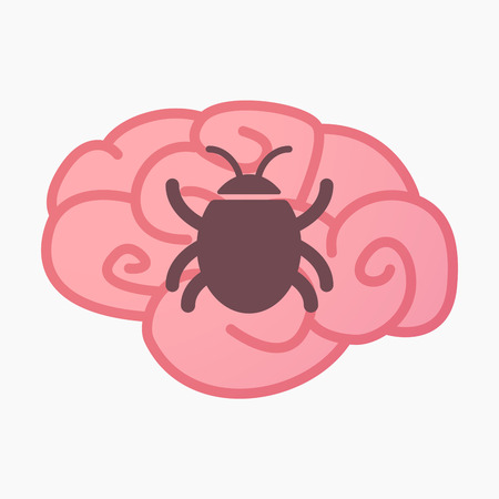 Illustration of an isolated brain with a bug