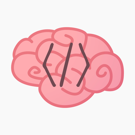 Illustration of an isolated brain with a code sign Illustration