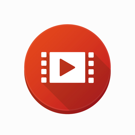 users video: Illustration of an isolated rounded button with a multimedia sign Illustration