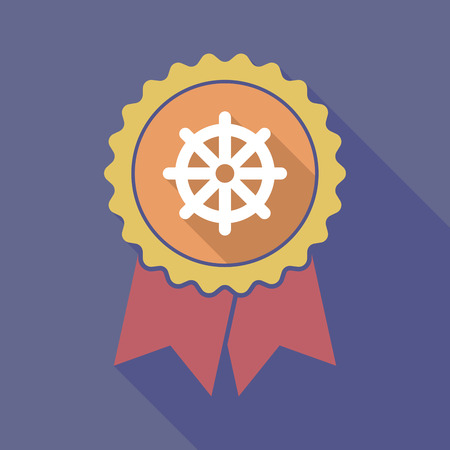 dharma: Illustration of a long shadow flat color badge with a dharma chakra sign Illustration