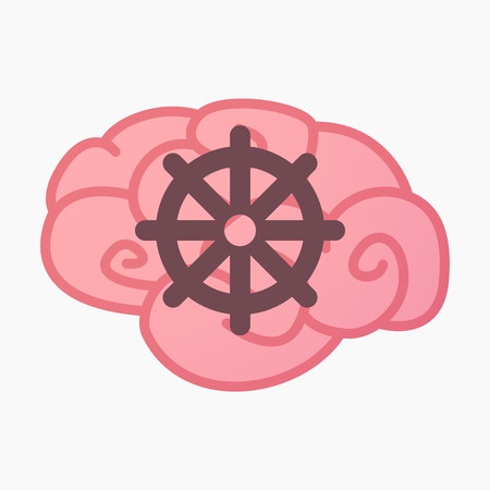 Illustration of an isolated brain with a dharma chakra sign Illustration