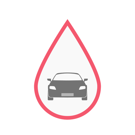 donation drive: Illustration of an isolated line art blood drop with a car