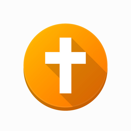 Illustration of an isolated rounded button with a christian cross