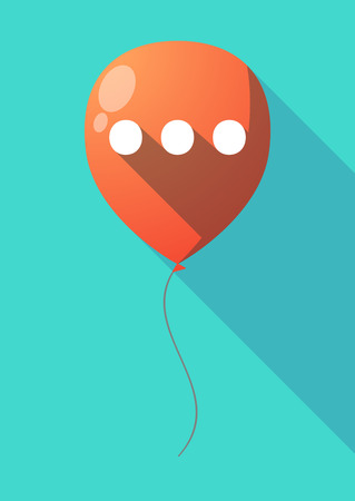 Illustration of a long shadow air  balloon with  an ellipsis orthographic sign Illustration