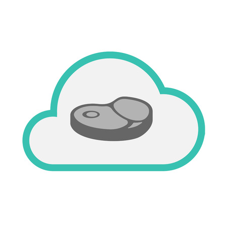 Illustration of an isolated line art cloud with  a steak icon
