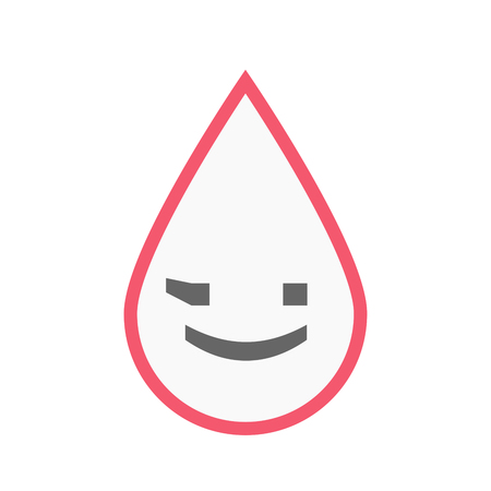blood line: Illustration of an isolated line art blood drop with  a wink text face emoticon