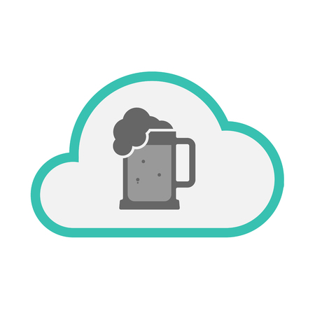 tarro cerveza: Illustration of an isolated line art cloud with  a beer jar icon