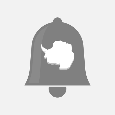 antarctica: Illustration of an isolated bell with  the map of  Antarctica