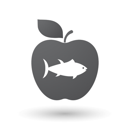 tuna fish: Illustration of an isolated apple fruit with  a tuna fish