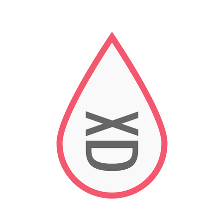 Illustration of an isolated line art blood drop with   a laughing text face