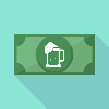 tarro cerveza: Illustration of a long shadow bank note with  a beer jar icon