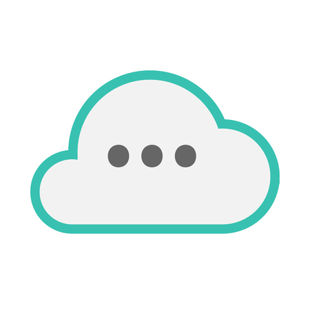 Illustration of an isolated line art cloud with  an ellipsis orthographic sign