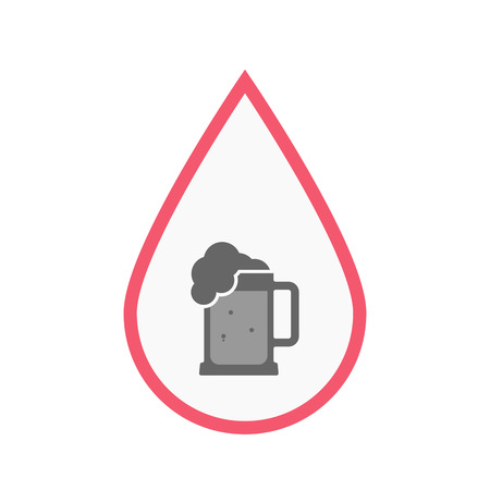 blood line: Illustration of an isolated line art blood drop with  a beer jar icon