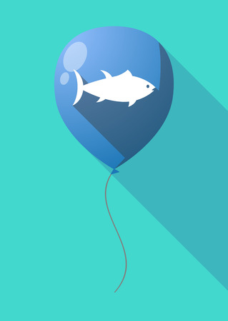 tuna fish: Illustration of a long shadow air  balloon with  a tuna fish Illustration