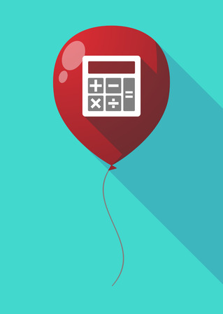 illustration of a long shadow air balloon with a calculator royalty