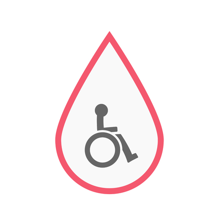 blood line: Illustration of an isolated line art blood drop with  a human figure in a wheelchair icon Illustration