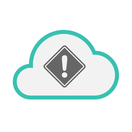 Illustration of an isolated line art cloud with   a warning road sign