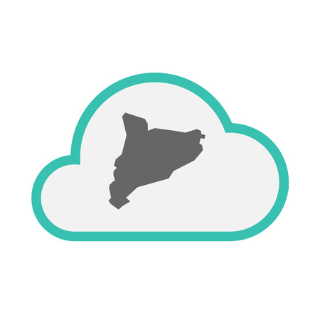 Illustration of an isolated line art cloud with  the map of Catalonia