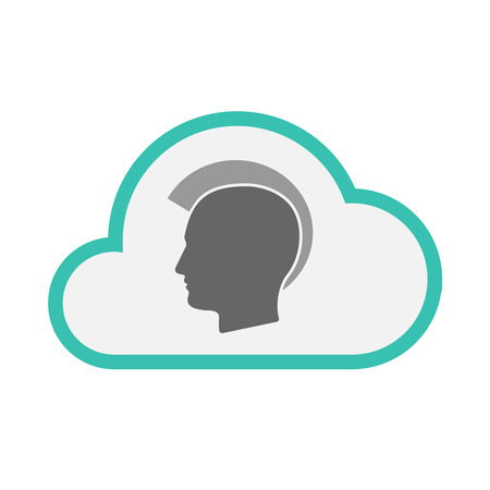 Illustration of an isolated line art cloud with  a male punk head silhouette