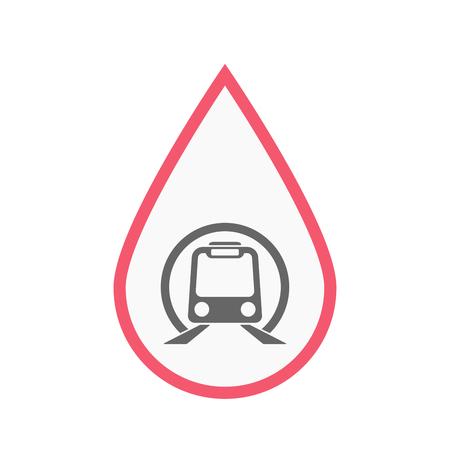 Ilustración de una gota de sangre de arte de línea aislada con un icono de tren de metro