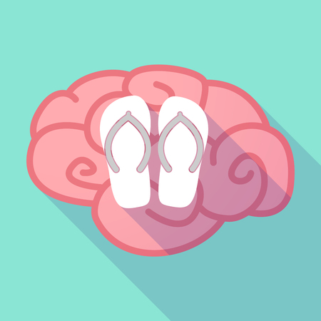 Illustration of a long shadow brain with   a pair of flops Illustration