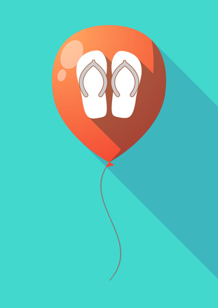 Illustration of a long shadow air  balloon with   a pair of flops