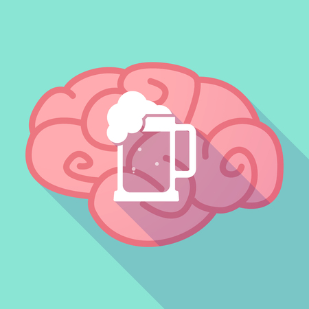 tarro cerveza: Illustration of a long shadow brain with  a beer jar icon