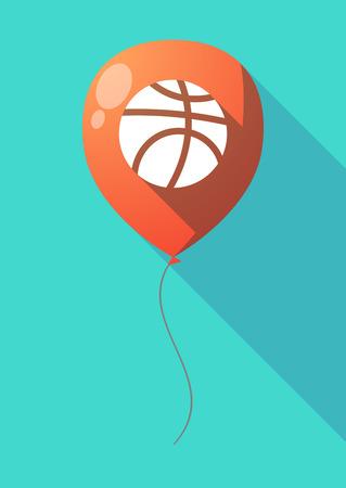 balon de basketball: Illustration of a long shadow air  balloon with  a basketball ball