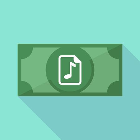 partition musique: Illustration d'un billet de banque de longue ombre avec une icône de partition Illustration