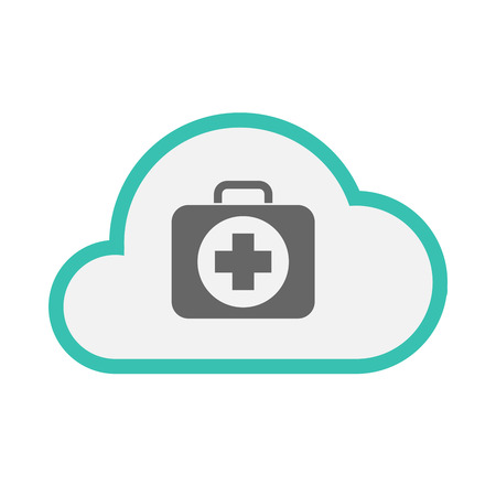 Illustration of an isolated line art cloud with  a first aid kit icon