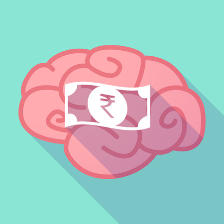 bank note: Illustration of a long shadow brain with  a rupee bank note icon Illustration