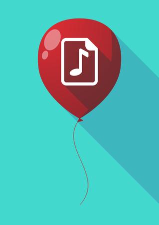 partition musique: Illustration d'un ballon à air long ombre avec une icône de partition