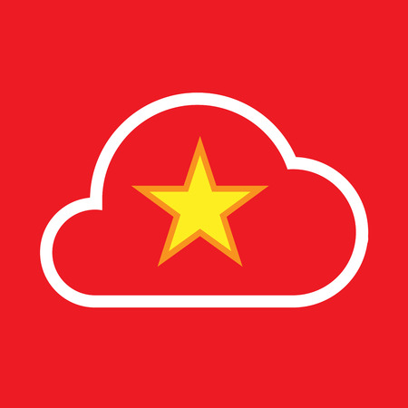 Illustration of an isolated line art cloud with  the red star of communism icon